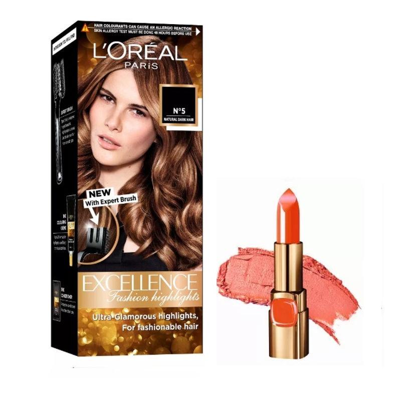 L'Oreal Paris Color Riche Moist Matte Lipstick - C511 Orange Power + Fashion Highlights Hair Color - Honey Blonde