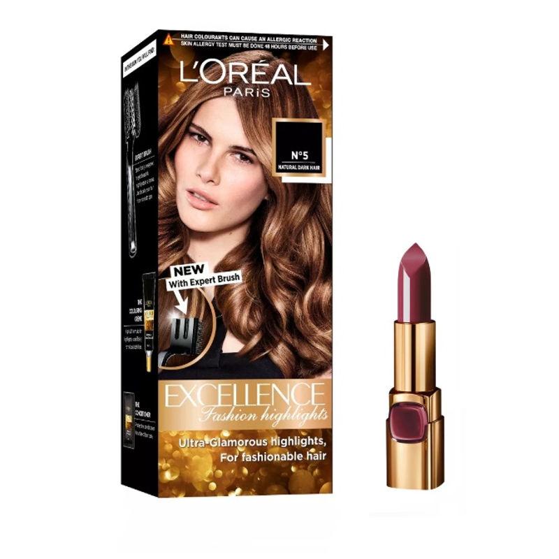 L'Oreal Paris Color Riche Moist Matte Lipstick - 223 Wine Marsala + Fashion Highlights Hair Color - Honey Blonde
