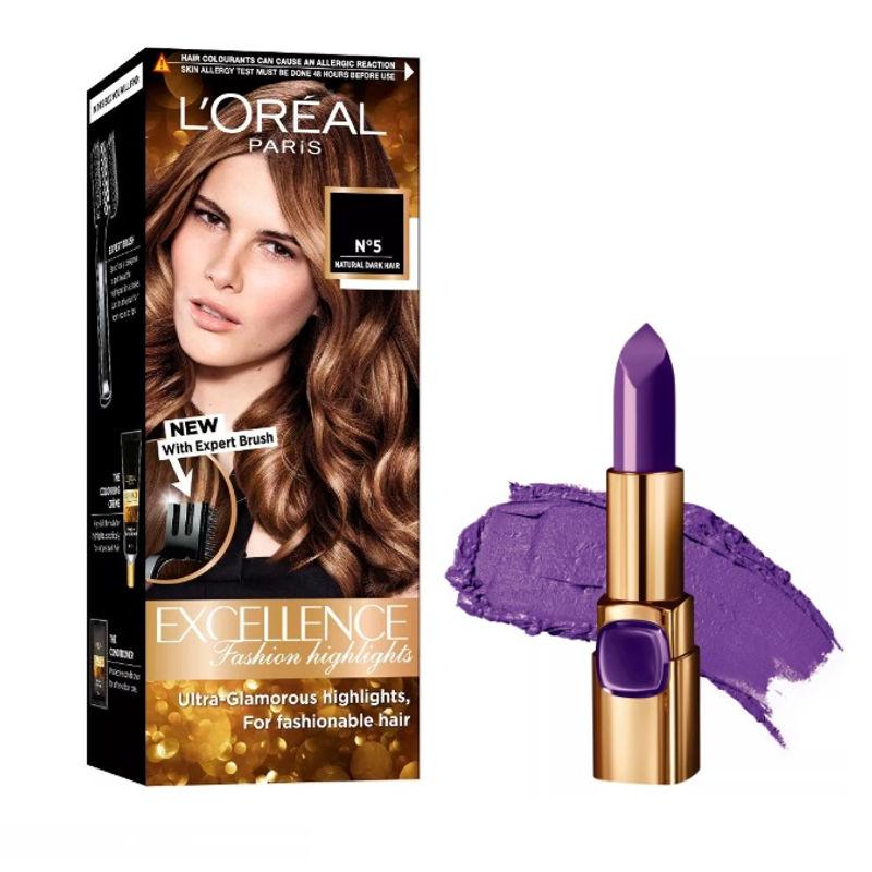 L'Oreal Paris Color Riche Moist Matte Lipstick - 238 Rouge Defile + Fashion Highlights Hair Color - Honey Blonde
