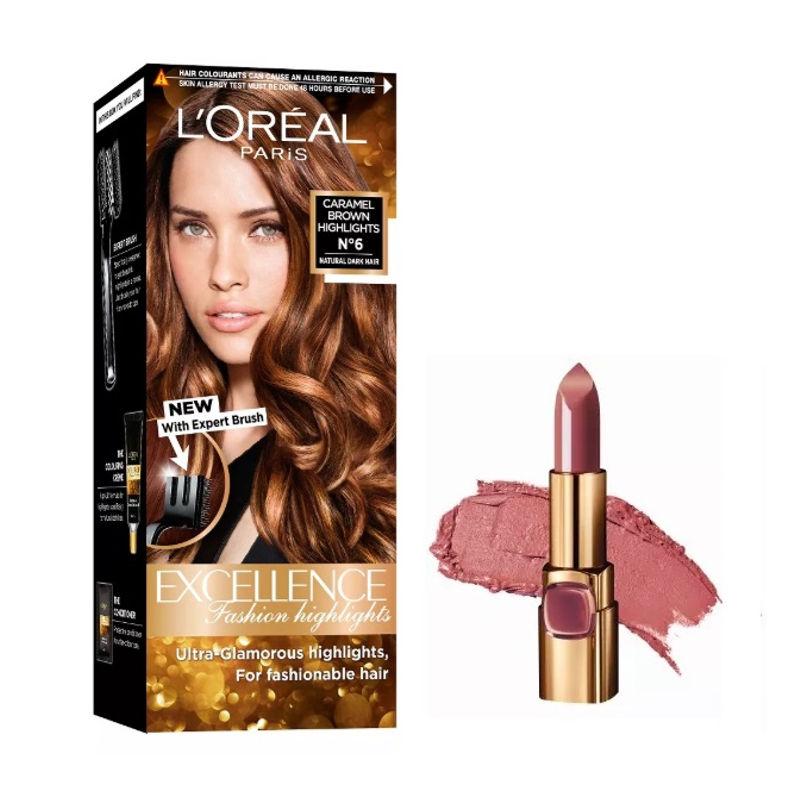 L'Oreal Paris Color Riche Moist Matte Lipstick - B511 Maple Mocha + Fashion Highlights Hair Color - Caramel Brown