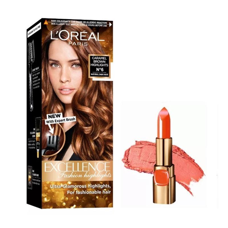L'Oreal Paris Color Riche Moist Matte Lipstick - C511 Orange Power + Fashion Highlights Hair Color - Caramel Brown