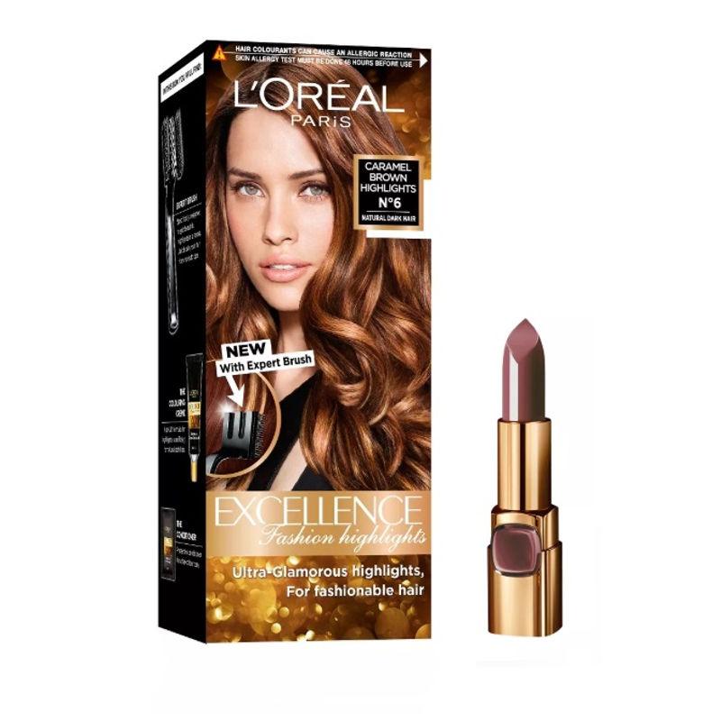 L'Oreal Paris Color Riche Moist Matte Lipstick - 226 Brown Sucré + Fashion Highlights Hair Color - Caramel Brown