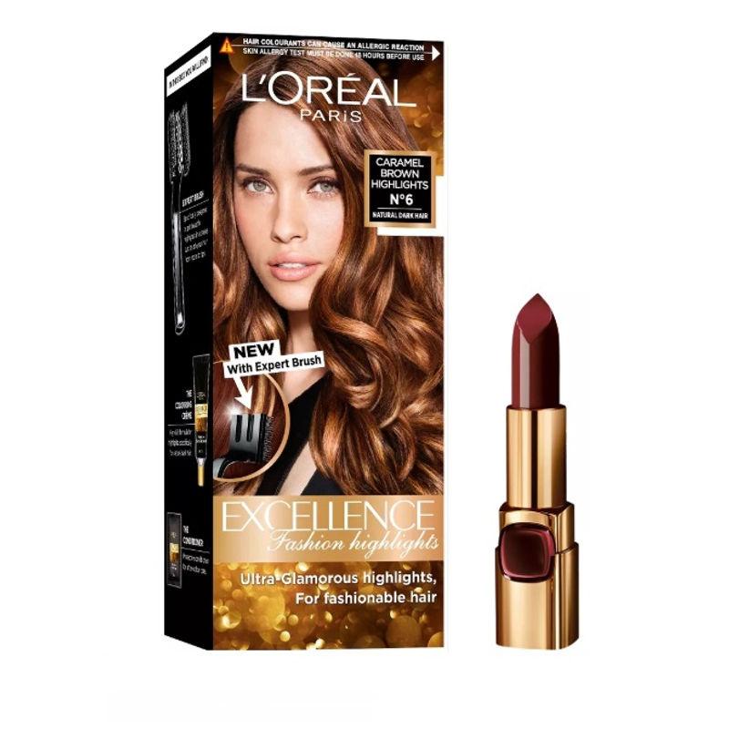 L'Oreal Paris Color Riche Moist Matte Lipstick - 241 Purple Call Time + Fashion Highlights Hair Color - Caramel Brown