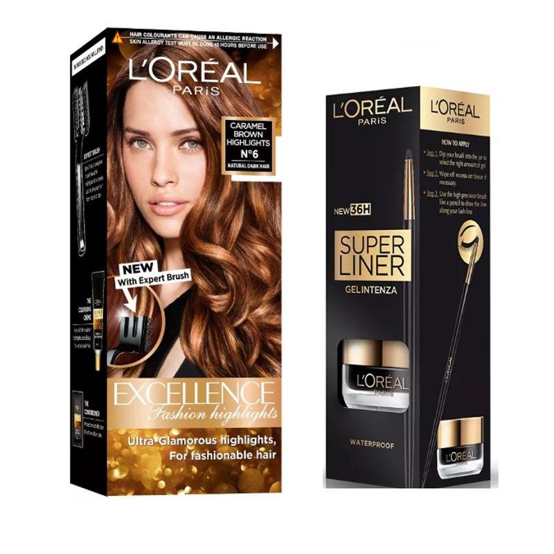 L'Oreal Paris Super Liner Gel Intenza 36H - Profound Black + Fashion Highlights Hair Color - Caramel Brown