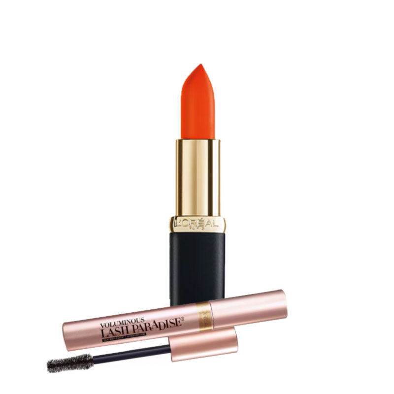 L'Oreal Paris Color Riche Matte Addiction Lipstick - Hype + Free Voluminous Lash Paradise Mascara