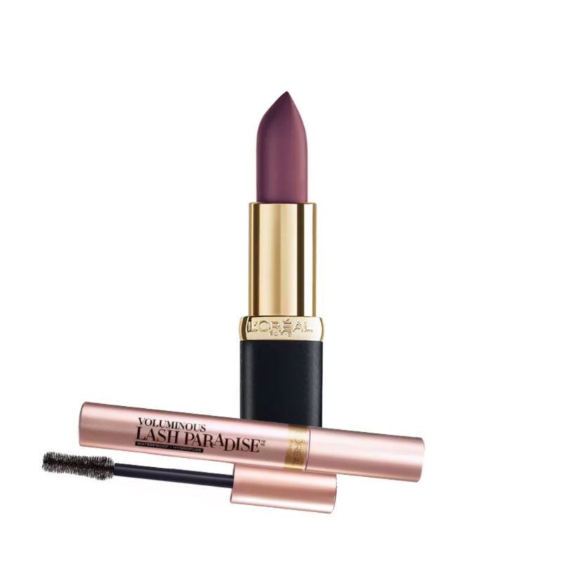 L'Oreal Paris Color Riche Matte Addiction Lipstick - Mahogany Studs + Free Voluminous Lash Paradise Mascara