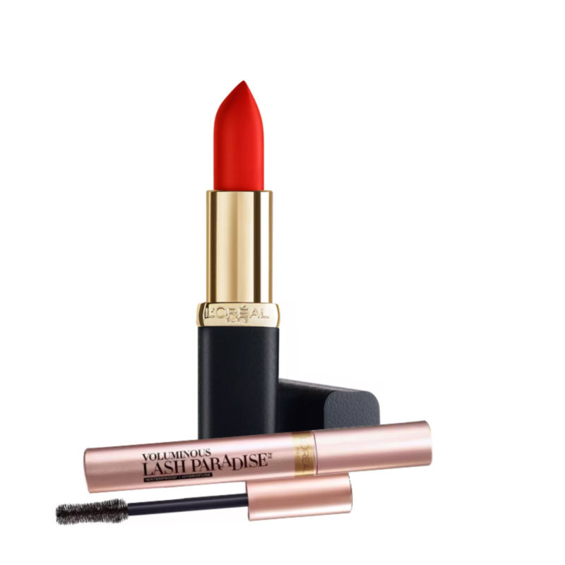 L'Oreal Paris Color Riche Matte Addiction Lipstick - Scarlet Silhouette + Free Voluminous Lash Paradise Mascara