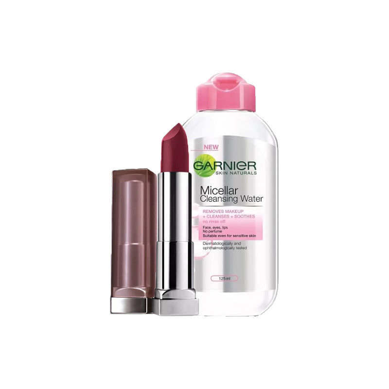 Maybelline New York Color Sensational Creamy Matte Lipstick - Divine Wine + Garnier Skin Naturals Micellar Cleansing Water