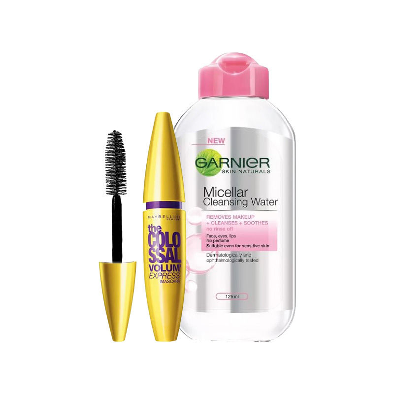 Maybelline New York The Colossal Volum Express Mascara Washable - 2 Black + Garnier Skin Naturals Micellar Cleansing Water