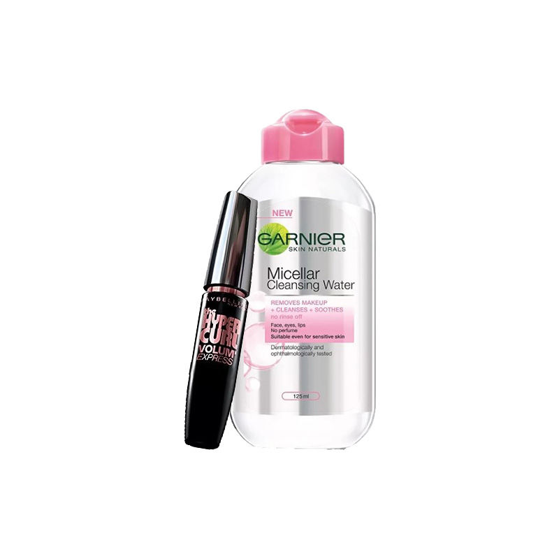 Maybelline New York Volum Express Hyper Curl Mascara - Washable Black + Garnier Skin Naturals Micellar Cleansing Water