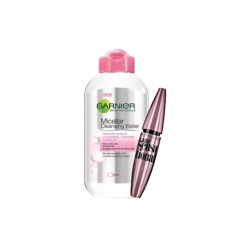 Maybelline New York Lash Sensational Mascara - Washable Black + Garnier Skin Naturals Micellar Cleansing Water