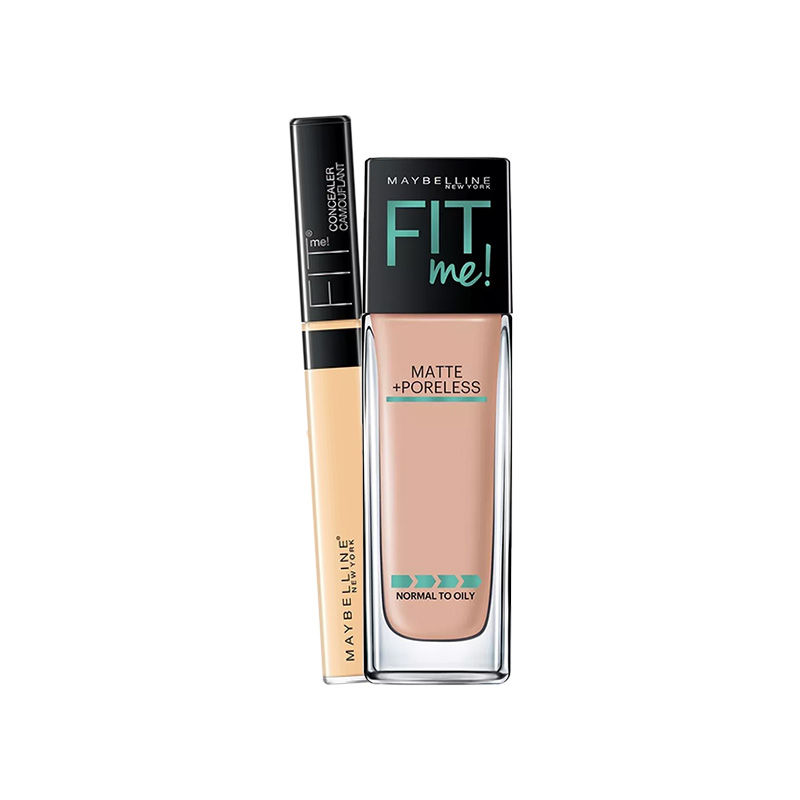 Maybelline New York Fit Me Matte + Poreless Foundation - 125 Nude Beige + Concealer - 25 Medium