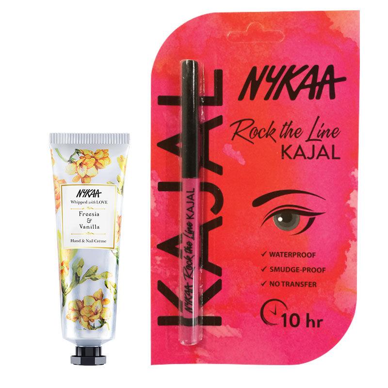 Nykaa Hand & Nail Creme - Freesia & Vanilla + Rock The Line Kajal Eyeliner Combo