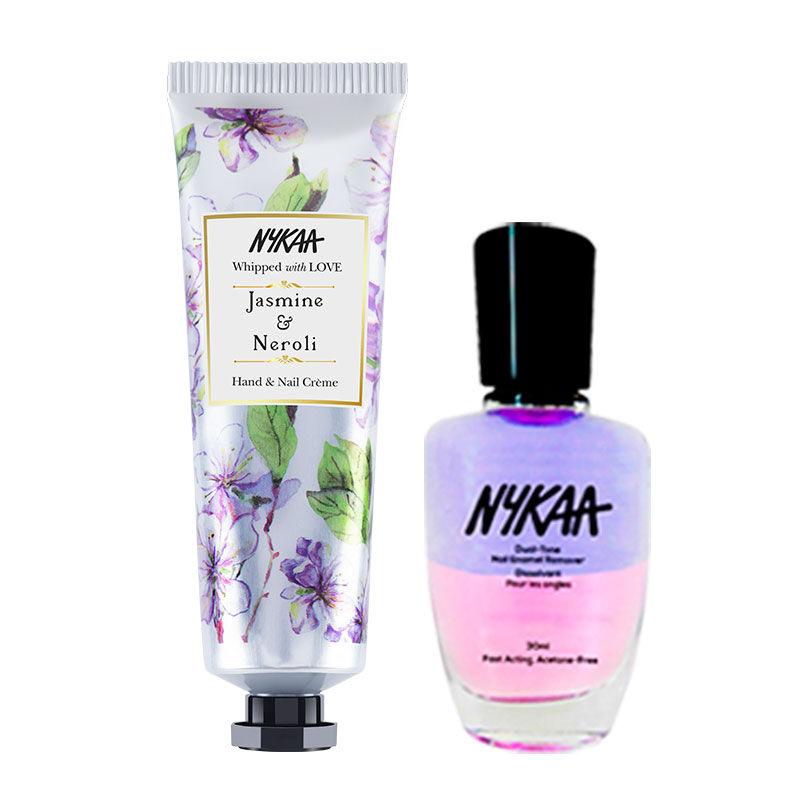 Nykaa Hand & Nail Creme - Jasmine & Neroli + Dual Tone Nail Enamel Remover Combo