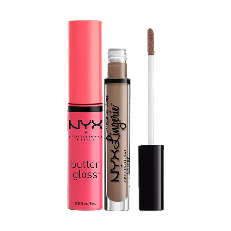 NYX Professional Makeup Lip Lingerie Liquid Lipstick - Delicate Lust + Makeup Butter Gloss - Cupcake