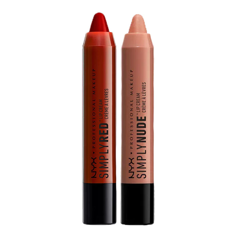 NYX Professional Makeup Simply Red Lip Cream - Leading Lady + Makeup Simply Nude Lip Cream - Exposed