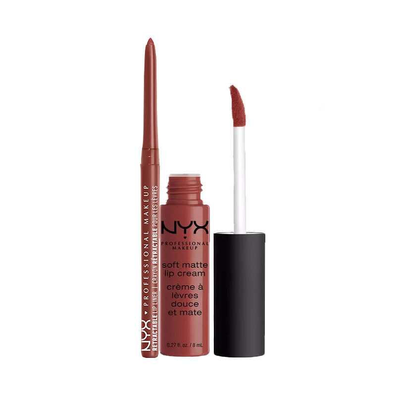 NYX Professional Makeup Retractable Lip Liner - Jewel + Makeup Soft Matte Lip Cream - Rome