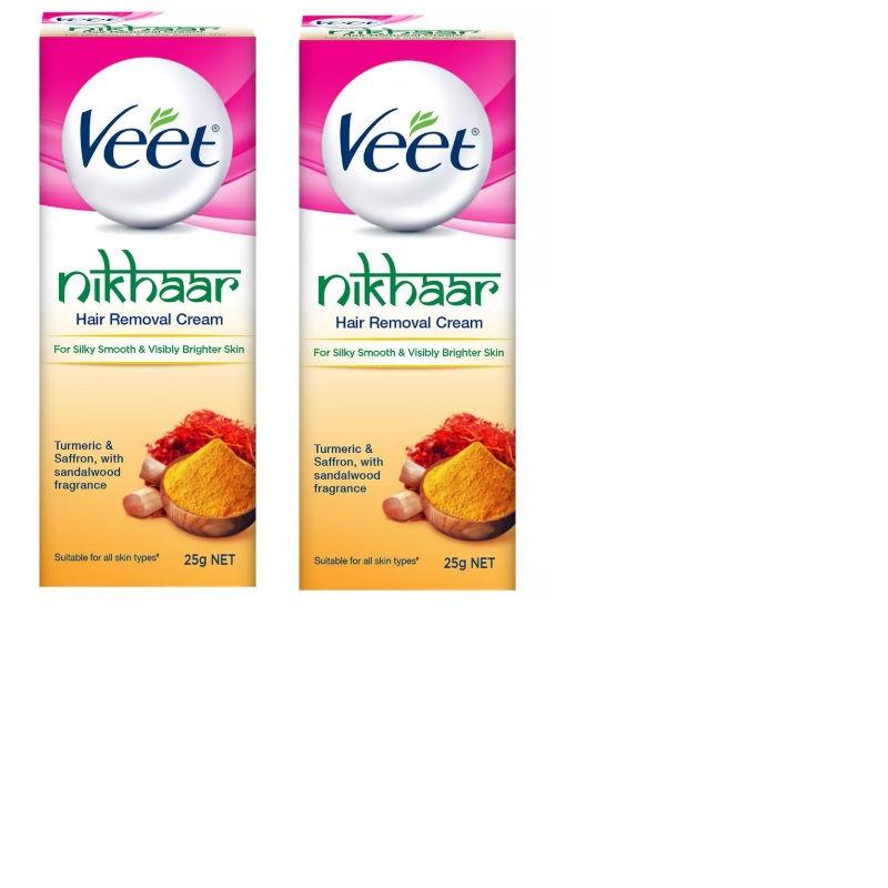 Veet Nikhaar Hair Removal Cream, All Skin Types - 25 G (Pack Of 3)