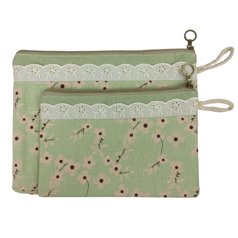 Bag Of Small Things Fabric Multipurpose Green Floral Travel Pouch - Set Of 2
