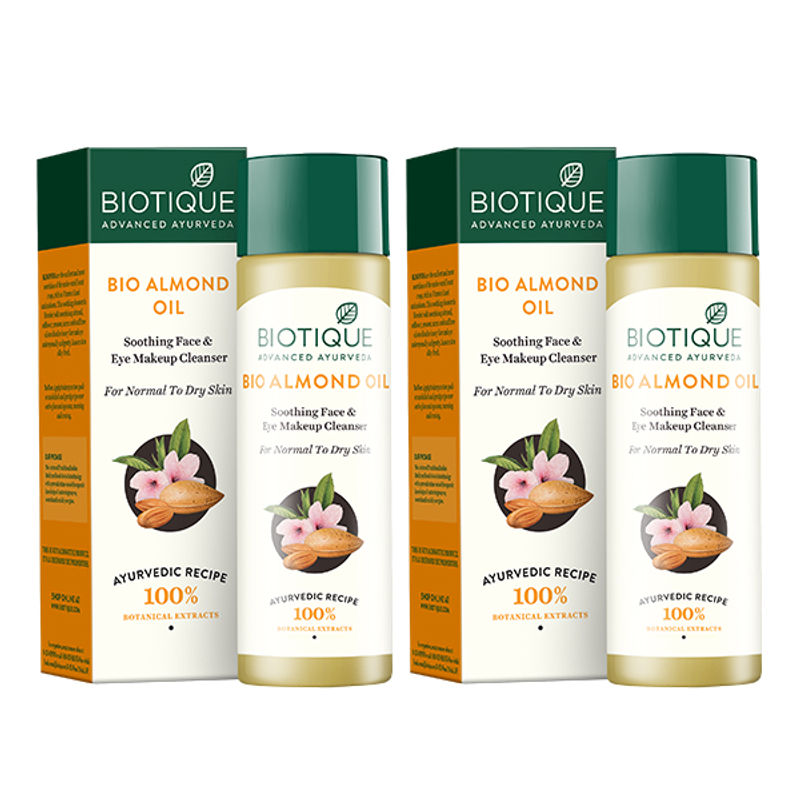 Biotique Almond Oil Soothing Face & Eye Make Up Cleanser Pack Of 2 (Extra 5% Off)