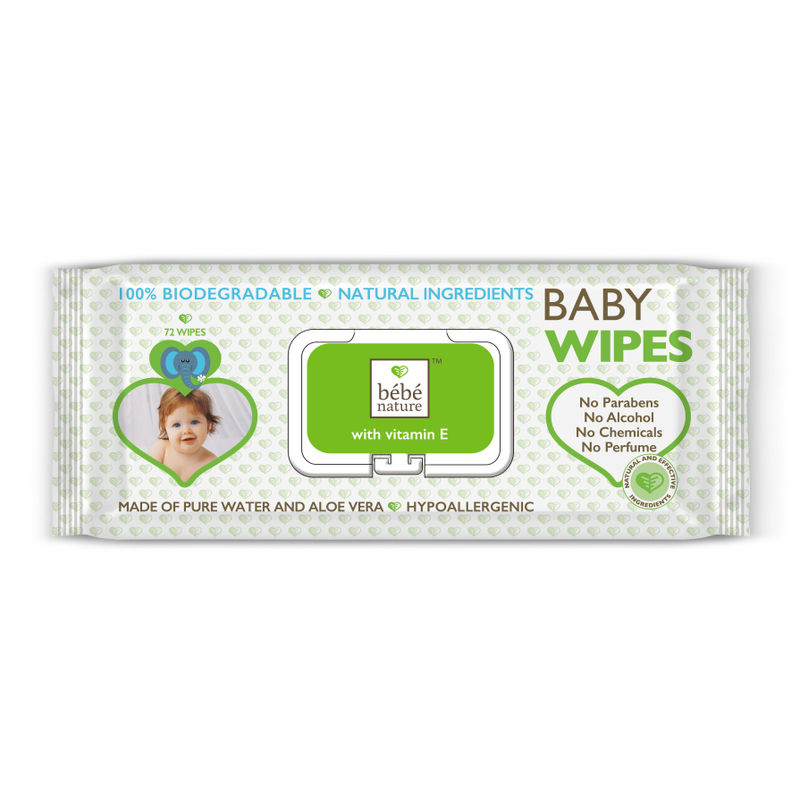 Bebe Nature Natural Biodegradable Wet Baby Wipes With Vitamin E