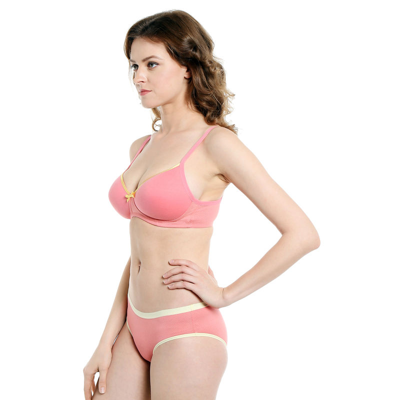 ef2a83040b S.O.I.E Everyday Non Wired Organic Cotton Padded Bra And Matching Panty -  Pink (38C) at Nykaa.com