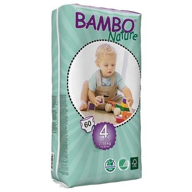 Bambo Nature Maxi - Tall Pack Diapers - Size 4, 7-18 Kg 60 Pieces