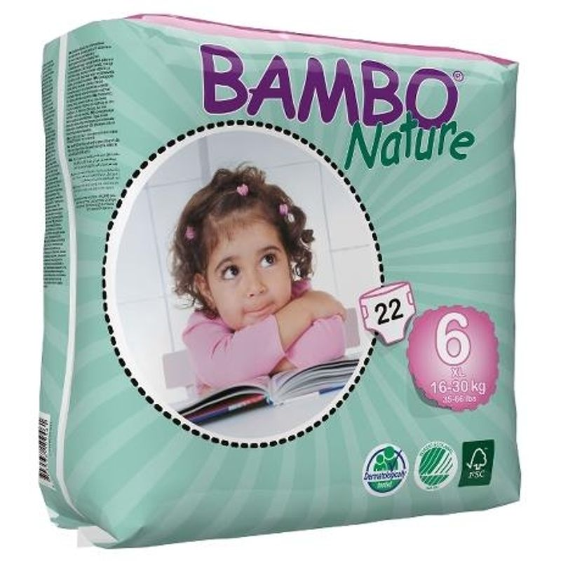 Bambo Nature XL Diapers - Size 6 16-30 Kg 22 Pieces