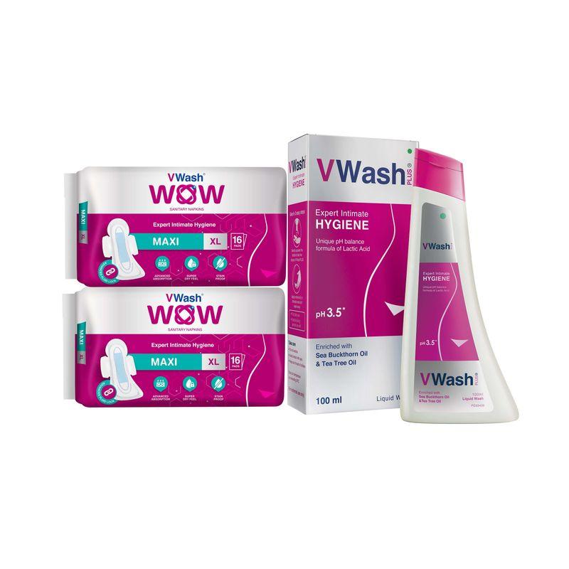 VWash WOW Maxi 16s XL - Pack Of 2s + VWash Intimate Hygiene Wash 100ml