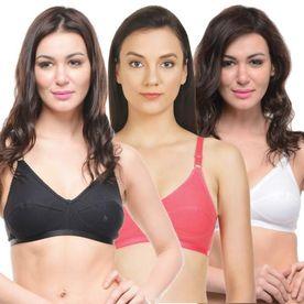 14f9529ccd573 Bodycare Perfect Coverage Bra In Black-Coral-White Color - Pack Of 3
