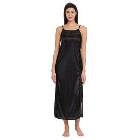 50ee3601fe Clovia Satin Long Nighty - Black (Free Size)