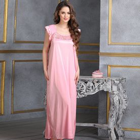 01a83cdb31 Clovia Long Satin Nighty In Baby Pink (Free Size)