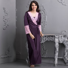 bf24b6d68ca6 Clovia 7 Pc Satin Nightwear Set - Purple (Onesize)
