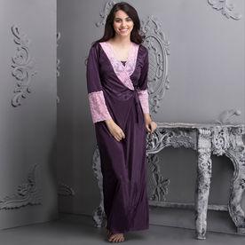 f01159b6afd4 Clovia 7 Pc Satin Nightwear Set - Purple (Onesize)