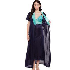 41573ce656 Clovia Satin Nighty With Robe - Blue (Free Size)