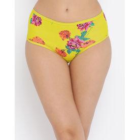 d5ca7cb8d2e Clovia Cotton High Waist Floral Print Hipster Panty - Yellow