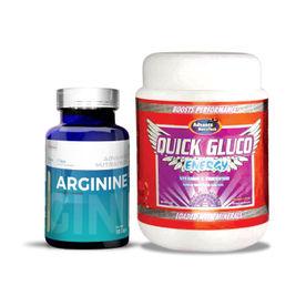 Advance Nutratech Arginine Aminos Capsules & Quick Gluco Energy Orange Powder Combo