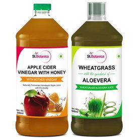 St.Botanica Wheatgrass Juice With Aloevera + Apple Cider Vinegar With Honey