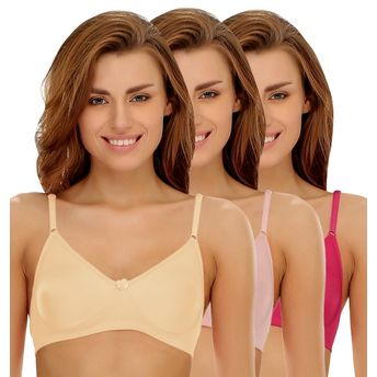 b0666a17d2 Clovia Pack of 3 Cotton Rich Non-Padded Wirefree T-shirt Bra in ...