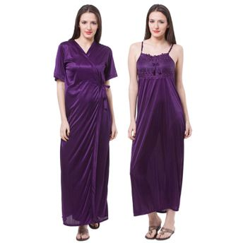Fasense Women Satin Nightwear 2 PCs Set Of Nighty   Wrap Gown at ... 0e45dacb2