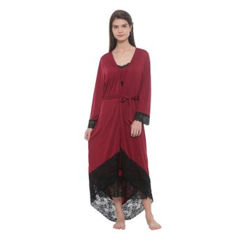 Mystere Paris Lace trimmed Robe Dress Set - Maroon at Nykaa.com 7acdf4ead