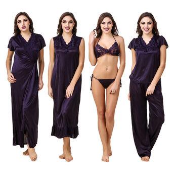 aa29f92b4 Fasense Women Satin Navy Blue Nightwear 6 Pc Set of Nighty