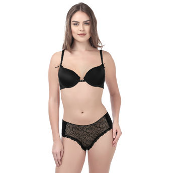 6dcbe28e0f Kate Soft Stretchable Underwired Bra With Panty - Black at Nykaa.com
