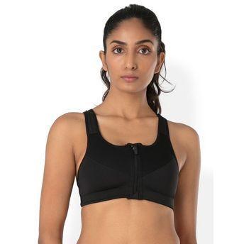 b33f2d5a90b81 PrettySecrets Zip-Front Sport Bra - Black at Nykaa.com
