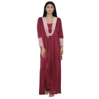 980fe86b73 Clovia Nightdress - Buy Clovia 7 Pc Satin Nightwear Set - Purple ...