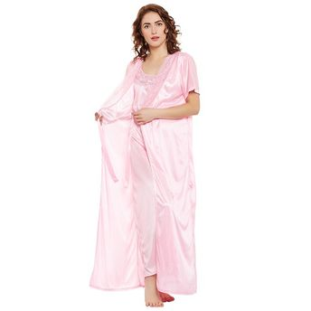 953605aac9 Clovia Satin Nighty   Robe Set - Pink (Free Size)(Free Size)