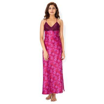 022d0d10d5 PrettySecrets Wine Rose Satin Low Back Nightdress - Multi-Color (S)(S)