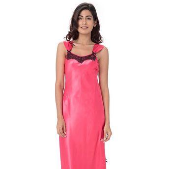 21c19d15be Pretty Secrets Satin Lace Trim Nightdress Pink at Nykaa.com