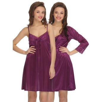 9d528bb631 Clovia 2 Pcs Set Of Nightslip And Robe - Purple at Nykaa.com