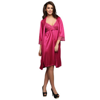 Clovia Set of 2 Pc SatIn Nightwear-Nighty and Robe (Onesize)(Free Size) 0ac4bc9e8